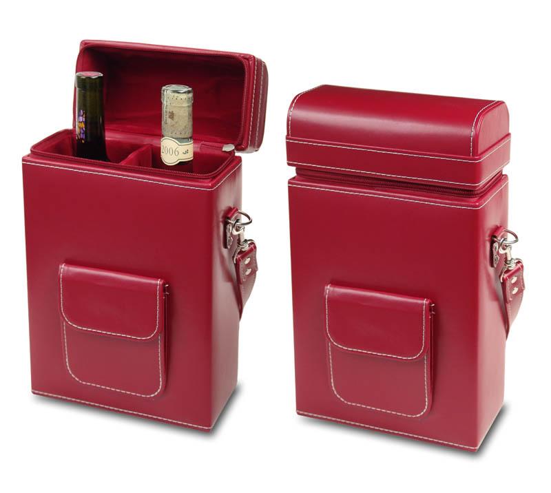 מארז דמוי עור לשני בקבוקי יין